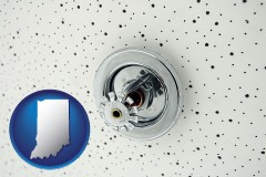 indiana a fire sprinkler head mounted in an acoustic tile ceiling