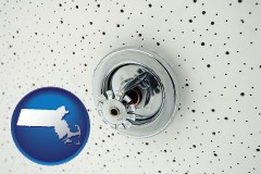 massachusetts a fire sprinkler head mounted in an acoustic tile ceiling