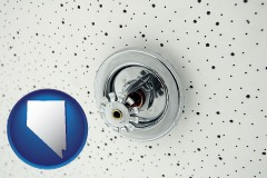 nevada a fire sprinkler head mounted in an acoustic tile ceiling