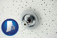 rhode-island a fire sprinkler head mounted in an acoustic tile ceiling