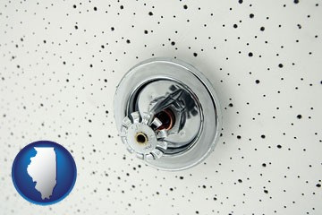 a fire sprinkler head mounted in an acoustic tile ceiling - with Illinois icon